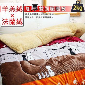 【Bear愛睡.熊】雙人羊羔絨×法蘭絨加厚超保暖雙面暖暖被-貓之物語 5513