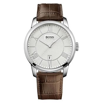 Hugo Boss 簡約羅馬時尚皮帶腕錶-銀x咖啡/43mm H1512973
