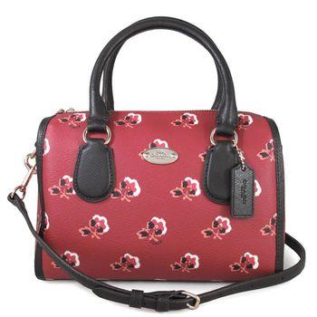COACH 馬車LOGO紅莓色小玫瑰防刮皮革波士頓兩用包