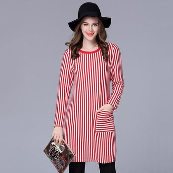 【KVOLL中大尺碼】條紋圓領加厚大口袋洋裝
