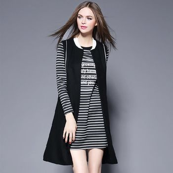 【M2M】時尚條紋長裙休閒背心兩件套