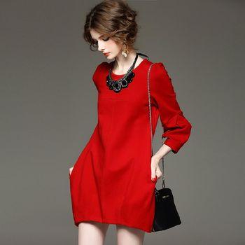 【M2M】純色圓領九分泡泡袖燈籠裙洋裝(共二色)