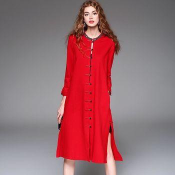 【M2M】紅色復古單排扣長款大衣外套