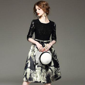 【M2M】魚骨蕾絲拼接鏤空大擺印花連衣裙