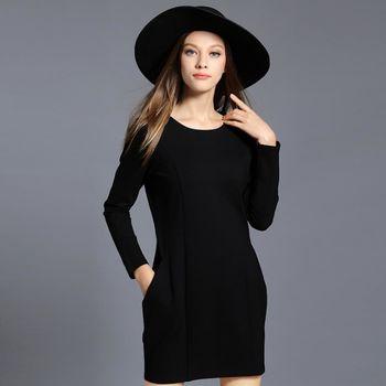 【KVOLL中大尺碼】簡約拼接口袋燈籠連衣裙 (共二色)