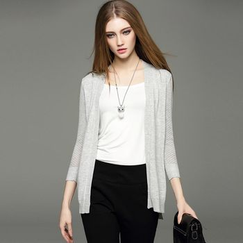 【M2M】素色針織開襟長袖薄外套(共二色)