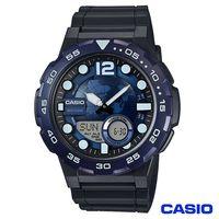CASIO卡西歐 世界地圖潮流 雙顯錶~藍 AEQ~100W~2A