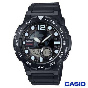 CASIO卡西歐 世界地圖潮流運動雙顯錶-黑 AEQ-100W-1A