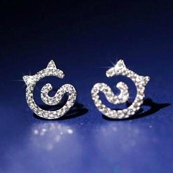 【米蘭精品】925純銀耳環鑲鑽耳飾精緻貓咪時尚73ag394