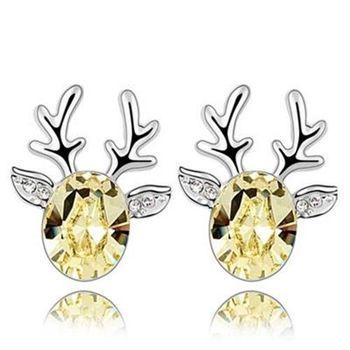 【米蘭精品】水晶耳環925純銀耳飾聖誕馴鹿精美鑲鑽3色73bd14