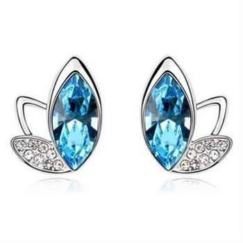 【米蘭精品】水晶耳環925純銀耳針式精選時尚精美6色73bd71