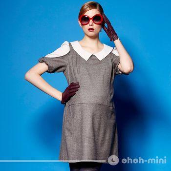 ohoh-mini孕婦裝 名媛霓裳拼布低腰孕哺洋裝