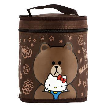 Hello Kitty+LINE熊大圓形保溫便當袋