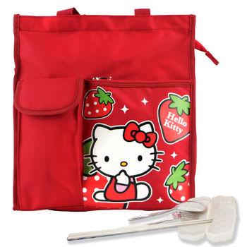 Hello Kitty 直式多功能/才藝袋/便當袋-紅色+台灣製環保三件式餐具組
