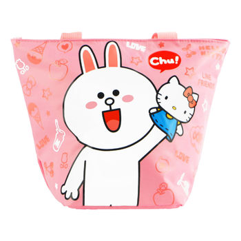 Hello Kitty+LINE兔兔餃型手提袋/便當袋