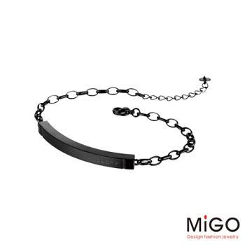 MiGO 心動天然寶石/白鋼手環-大(黑)