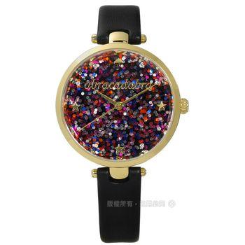 kate spade / KSW1212 / 閃爍亮片星空真皮手錶 彩色x金框x黑 34mm