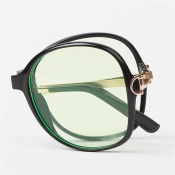 【MEGASOL】Gucci設計師同款濾藍光抗紫外線平光眼鏡摺疊款(MS9217BZ)-茶框黃片