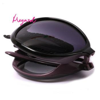 【MEGASOL】寶麗萊UV400摺疊偏光太陽眼鏡(設計師晶鑽款)MS6214Z-黑色