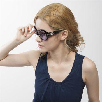 【MEGASOL】折疊式-寶麗萊抗UV400濾藍光眼鏡(設計師晶鑽款-6214BZ)-黑色黃片