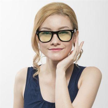 【MEGASOL】雷朋同款折疊特仕款寶麗萊濾藍光抗紫外線平光眼鏡(MS4105BZ)-亮黑黃片
