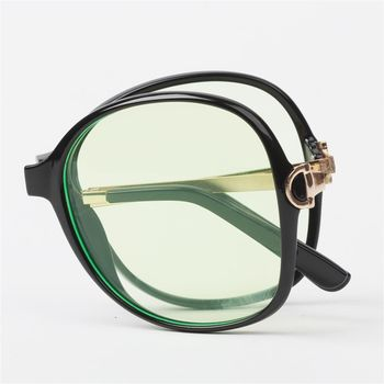 【MEGASOL】Gucci設計師同款濾藍光抗紫外線平光眼鏡摺疊款(MS9217BZ)-茶框紫片