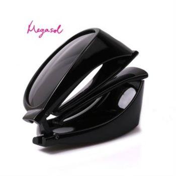 【MEGASOL】UV400偏光外掛式側開窗太陽眼鏡(外罩式-MS3009Z)-亮黑