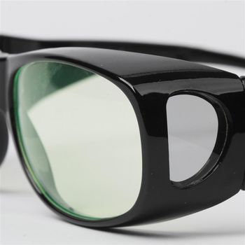 【MEGASOL】折疊式-UV400外掛式側開窗濾藍光眼鏡(外罩式-BZ3009BZ)-亮黑框黃片