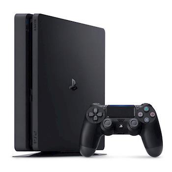 SONY PS4主機2017系列500GB-極致黑 + 無線震動黑手把ZCT2G + DOBE雙手充 + 副廠Slim黑直立架