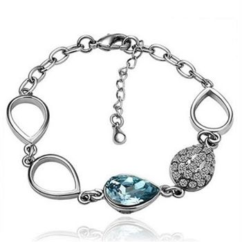 【米蘭精品】純銀手鍊鍍白金水晶手環精緻鑲鑽時尚氣質73cd18