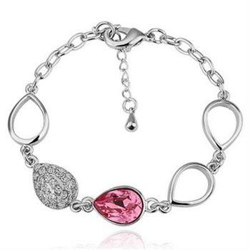 【米蘭精品】純銀手鍊鍍白金水晶手環精美時尚鑲鑽精緻73cd21