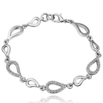 【米蘭精品】純銀手鍊鍍白金鑲鑽手環時尚精緻水滴相連73cd25