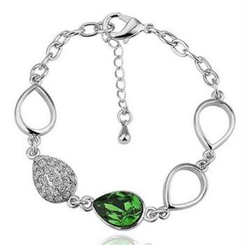 【米蘭精品】純銀手鍊鍍白金水晶手環精緻鑲鑽優雅氣質73cd30