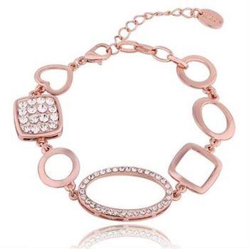 【米蘭精品】純銀手鍊鍍18K金鑲鑽手環時尚大方高貴優雅73cd38