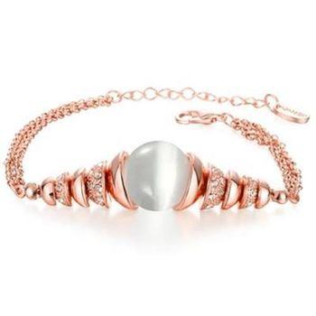 【米蘭精品】純銀手鍊鍍18K金貓眼石手環高貴華麗精緻鑲鑽73cd42