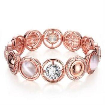 【米蘭精品】純銀手鍊鍍18K金貓眼石手環歐美時尚大方鑲鑽水晶73cd43
