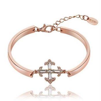 【米蘭精品】純銀手鍊鍍18K金水晶手環歐美時尚鑲鑽十字架73cd47