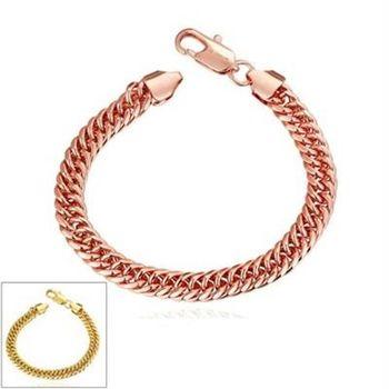 【米蘭精品】純銀手鍊鍍18K金手環時尚大方個性百搭2色73cd53