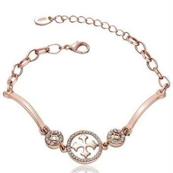 【米蘭精品】純銀手鍊鍍18K金鑲鑽手環歐美時尚十字架精美73cd64