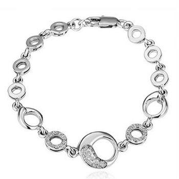 【米蘭精品】純銀手鍊鍍白金鑲鑽手環時尚優雅精緻流行73cd67