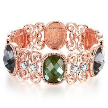 【米蘭精品】純銀手鍊鍍18K金水晶手環時尚華麗精緻鑲鑽73cd71