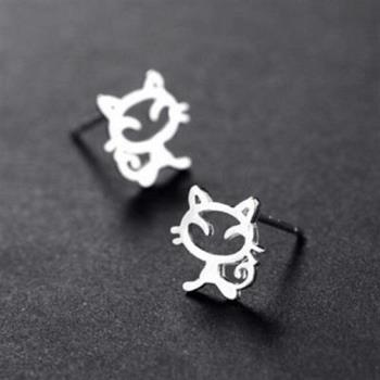 【米蘭精品】純銀耳環925純銀耳針式耳飾可愛鏤空小貓咪時尚73ag3