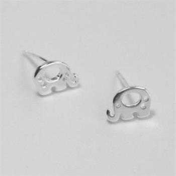 【米蘭精品】純銀耳環925純銀耳針式耳飾精選可愛小象73ag9