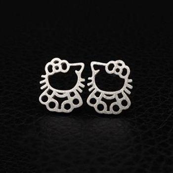 【米蘭精品】純銀耳環925純銀耳針式耳飾日韓時尚可愛貓咪73ag21