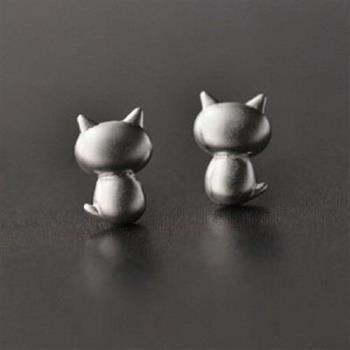 【米蘭精品】純銀耳環925純銀耳針式耳飾可愛小貓咪背面時尚73ag22