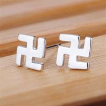 【米蘭精品】純銀耳環925純銀耳針式耳飾卍字符號個性73ag47