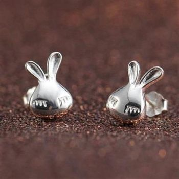 【米蘭精品】純銀耳環925純銀耳針式耳飾可愛小兔子精選73ag49