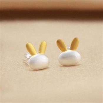 【米蘭精品】純銀耳環925純銀耳針式耳飾可愛小兔子百搭73ag51