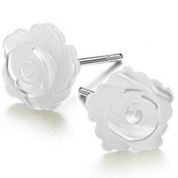 【米蘭精品】純銀耳環925純銀貝殼耳飾精美氣質玫瑰花2款73ag50