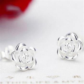 【米蘭精品】925純銀耳環耳針式耳飾精緻玫瑰花時尚73ag71